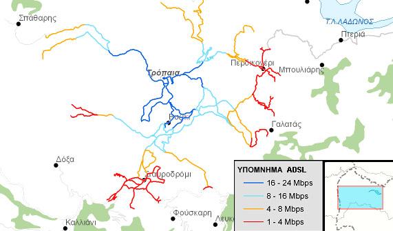Χάρτης ταχυτήτων ADSL