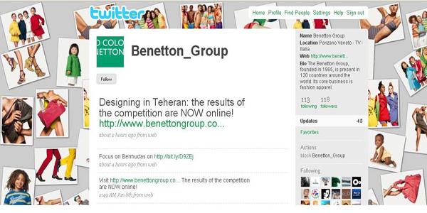 Το twitter Account της Benetton Group