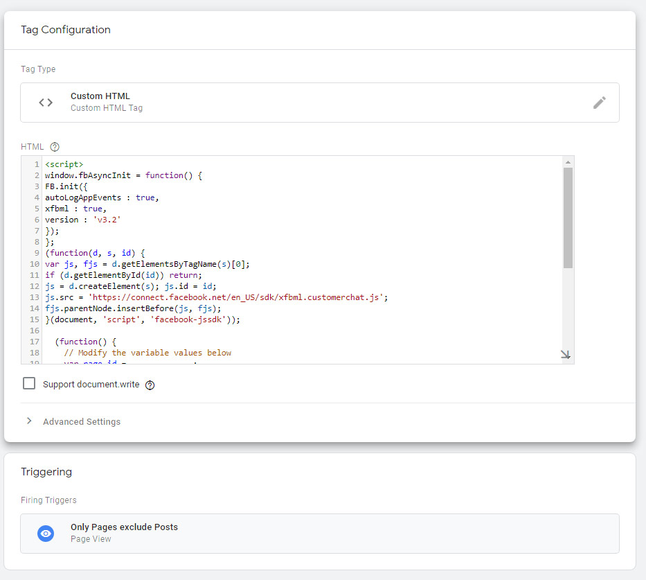 Google tag manager - Custom html tag for facebook chat messenger